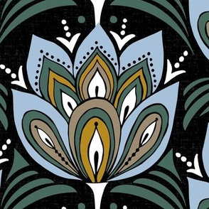 Fioritura - Graphic Floral Geometric Black Large Scale