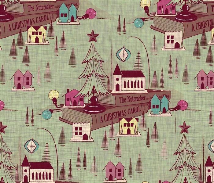 Vintage Mica Christmas Village Toile