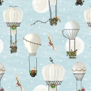 Christmas woodland animals in hot air balloons in white and light blue, winter snow, kids christmas, stocking, minky blanket, snow flakes, winter, baby boy, baby  winter holiday, christmas owl,  christmas hot air balloon