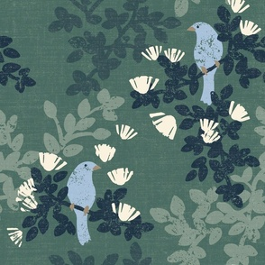 Calm blue birds on green 200 large scale