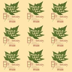 "maple leaf rag - original music cover page, small 6"" panel, cream colored paper"