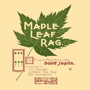 "maple leaf rag - original music cover page, 12"" panel on cream"