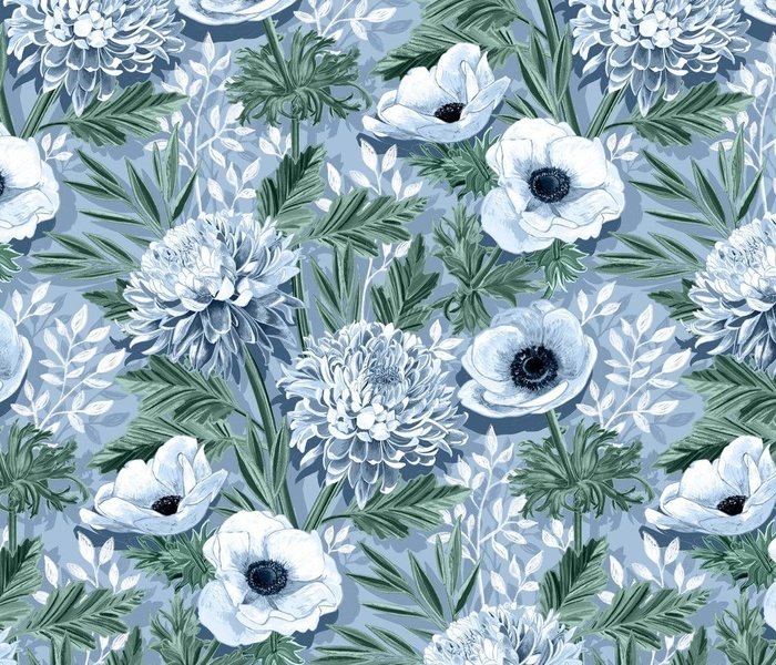 Anemones and 'Mums in Green, Blue and White - large