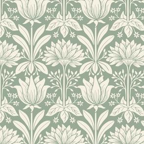 Tulip Damask - Large - Cream, Dusty Sage