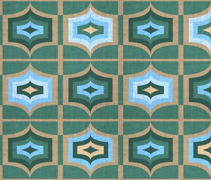 Retro 70's Mod Geometric Blue Teal