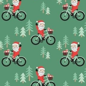 Santa Bike Ride - Green, Medium Scale