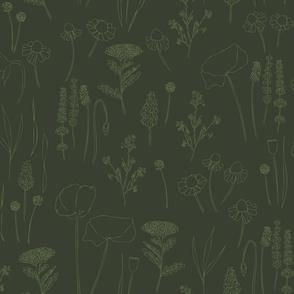 Wild dark green grass flowers