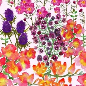Watercolor Gladiolas Orchids Cosmos Thistle Overload