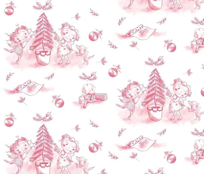 Christmas Celebration Toile on Pink