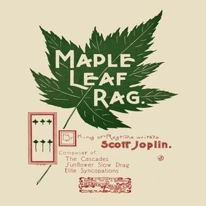"maple leaf rag - original music cover page, 12"" panel on beige"