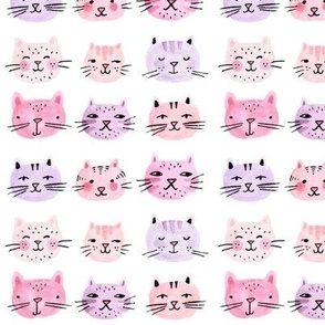 Watercolor Cats Pink and Lavender Small Scale