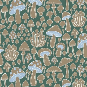 Forest Floor Mushrooms and Toadstools - tan, green, blue - medium/large scale