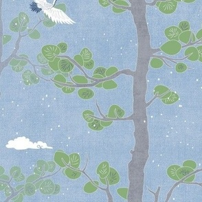 Forest Fabric, Crane Fabric in Sky Blue (large scale)   Bird fabric in soft blue, azure blue Japanese print fabric, woodland trees fabric with crane birds and snow.