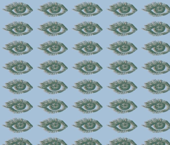 calm palette green eyes block print - large