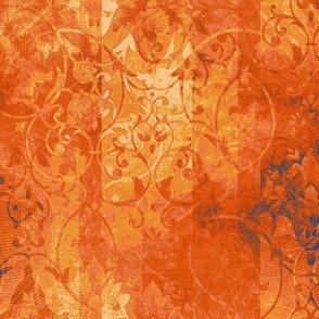 ornate_orange_blue_damask_swirl