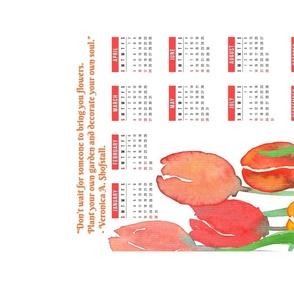 Watercolor Tulips 2022 Calendar Tea Towel
