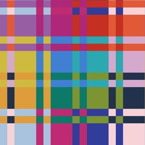 Picnic rainbow complex check pattern