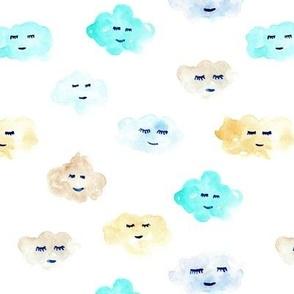 Mint and cream sleeping baby clouds - watercolor sweet night sky pattern for nursery kids in pastel shades - closed sleepy eyes a466-1