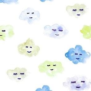 Blue and lemon sleeping baby clouds - watercolor sweet night sky pattern for nursery kids in pastel shades - closed sleepy eyes a466-2