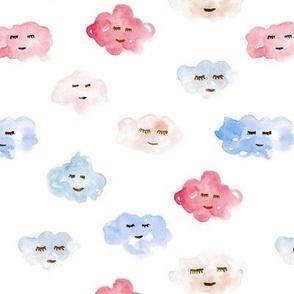 sleeping baby clouds - watercolor sweet night sky pattern for nursery kids in pastel shades - closed sleepy eyes a466-5