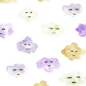 sleeping baby clouds - watercolor sweet night sky pattern for nursery kids in pastel shades - closed sleepy eyes a466-6