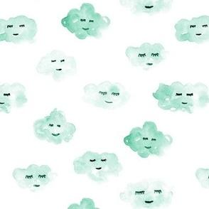 Mint sleeping baby clouds - watercolor sweet night sky pattern for nursery kids in pastel shades - closed sleepy eyes a466-12