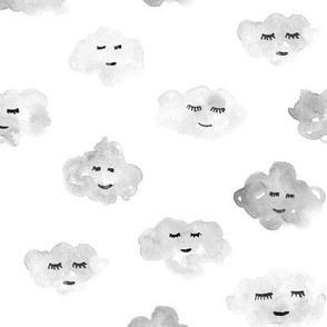 Silver grey sleeping baby clouds - watercolor sweet night sky pattern for nursery kids in pastel shades - closed sleepy eyes a466-13