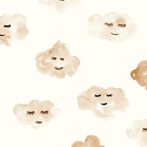 sleeping creamy baby clouds - watercolor sweet night sky pattern for nursery kids in pastel shades - closed sleepy eyes a466-15