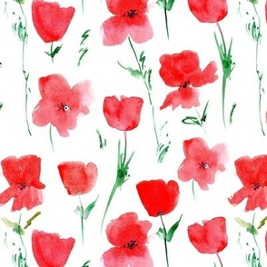 Poppies meadow in Tuscany - watercolor florals - painted loose stylized flowers a435-1