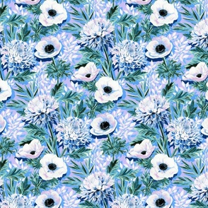 Lilac, Blue and Green Chrysanthemums and Anemones - medium