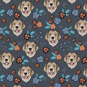 Blossom Labrador puppies with flowers and leaves freehand drawn dog illustration in orange teal on charcoal gray