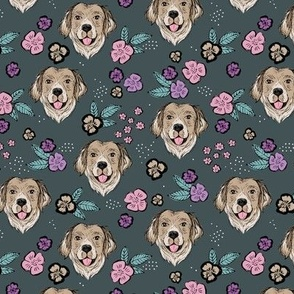 Blossom Labrador puppies with flowers and leaves freehand drawn dog illustration in pink teal on green charcoal gray