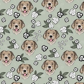Blossom Labrador puppies with flowers and leaves freehand drawn dog illustration in cameo green sage
