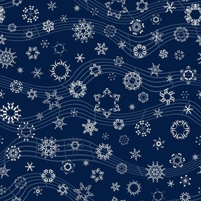 wind-blown musical snowflakes on navy