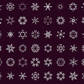 musical snowflakes on burgundy