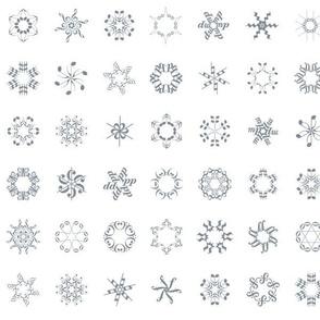 musical snowflakes - grey on white