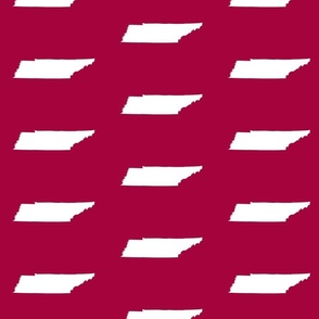 """Tennessee silhouette - 4x6"""" panels, white on cranberry red"""
