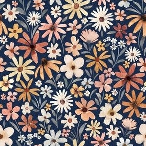 Small Scale / Autumnal Tiny Flowers / Navy Background