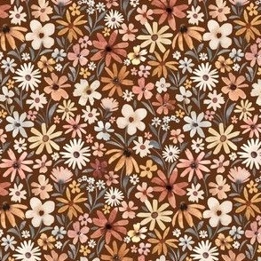 Mini Scale / Autumnal Tiny Flowers / Rust Background