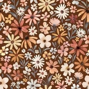 Small Scale / Autumnal Tiny Flowers / Rust Background
