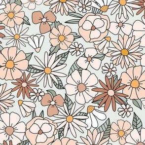 70s Floral retro vintage flower power in peach brown green