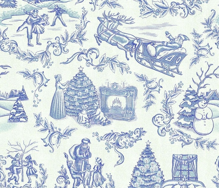 Christmas Toile in Blue