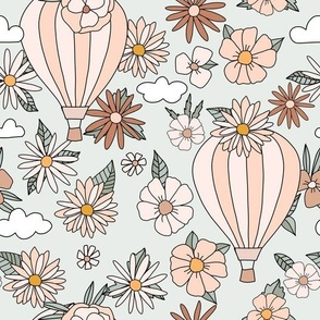 Hot Air Ballon and Flowers Vintage Retro nursery kids pink peach green