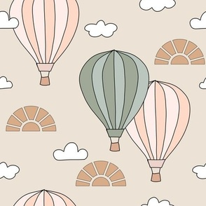Vintage Hot Air Balloons in the sky with clouds sun in beige gender neutral pink green nursery illustrated children book