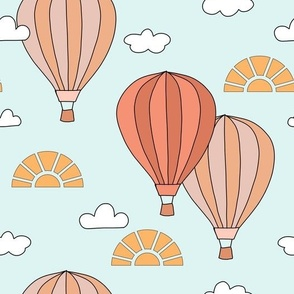 Vintage Hot Air Balloons in the sky with clouds sun in blue yellow orange nursery illustrated children book