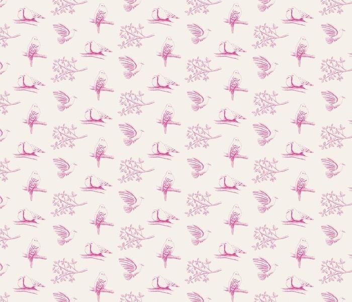 toile de jouy - magenta pigeons