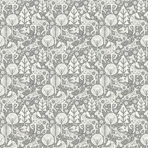 Calming Winter Forest Scandinavian Folk Art Pewter Gray and Natural