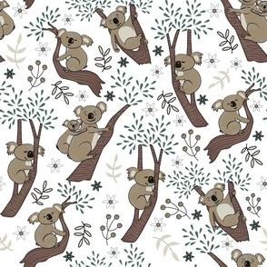happy koalas on trees