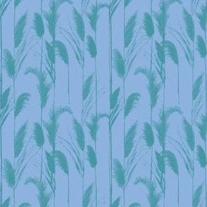Chilly Grasses in cornflower blue and teal medium