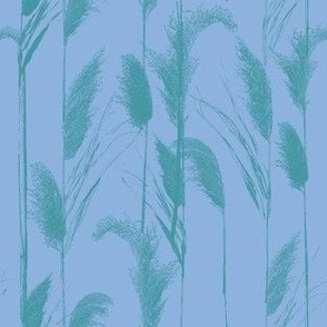 Chilly Grasses in cornflower blue and teal larger